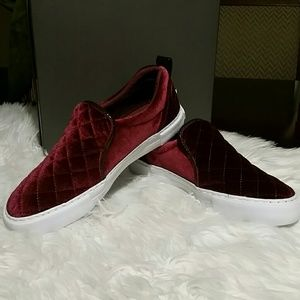 Guess velvet slip on shoes